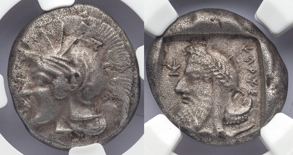 KHEREI SILVER STATER WITH EARLY KING PORTRAIT - RARE VARIETY - XF NGC GRADED GREEK LYCIAN DYNASTS COIN (Inv. 10060)