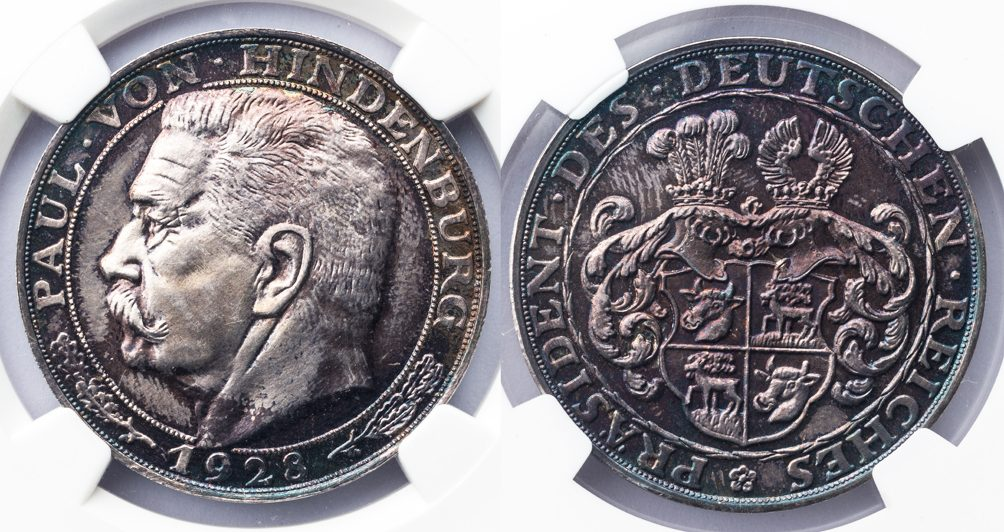 GERMANY WEIMAR REPUBLIC - SILVER MEDAL OF PAUL VON HINDENBURG - NGC GRADED PF65 IRIDESCENT MEDAL (Inv. 10072)