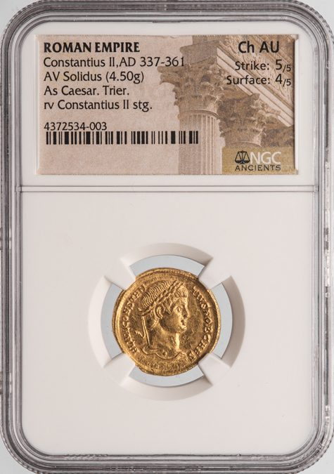 CONSTANTIUS II GOLD SOLIDUS - RARE AD 326 EMISSION FROM TRIER WHILE SERVING AS CAESAR - CHOICE AU NGC GRADED ROMAN IMPERIAL COIN (Inv. 10589)