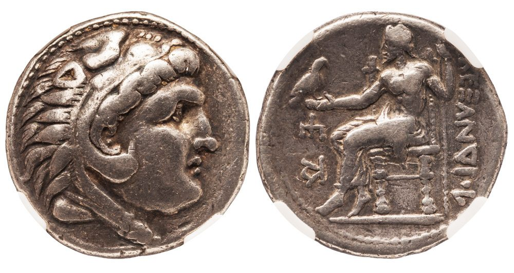 """CELTIC SILVER ALEXANDER TYPE TETRADRACHM IMITATING EMISSIONS FROM """"PELLA"""" - VF NGC GRADED GREEK CELTIC LOWER DANUBE COIN (Inv. 10680)"""
