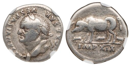 VESPASIAN SILVER DENARIUS - POPULAR SOW AND PIGLETS TYPE - CHOICE FINE NGC GRADED ROMAN IMPERIAL COIN OF THE TWELVE CAESARS (Inv. 10714)