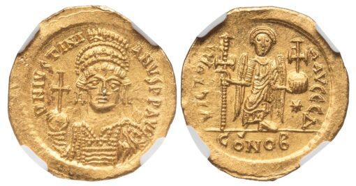 JUSTINIAN I GOLD SOLIDUS - ANGEL ISSUE OF OFFICINA Δ - MINT STATE NGC GRADED BYZANTINE COIN (Inv. 10948)