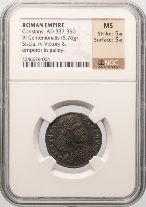 CONSTANS BI CENTEONIONALIS - EMPEROR WITH LABARUM IN SHIP TYPE STRUCK AT SISCIA - MINT STATE NGC GRADED ROMAN IMPERIAL COIN (Inv. 11030)