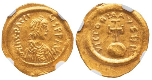 HERACLIUS GOLD SEMISSIS - SMALLER DENOMINATION WITH CROSS ON GLOBE - AU NGC GRADED BYZANTINE COIN (Inv. 11069)