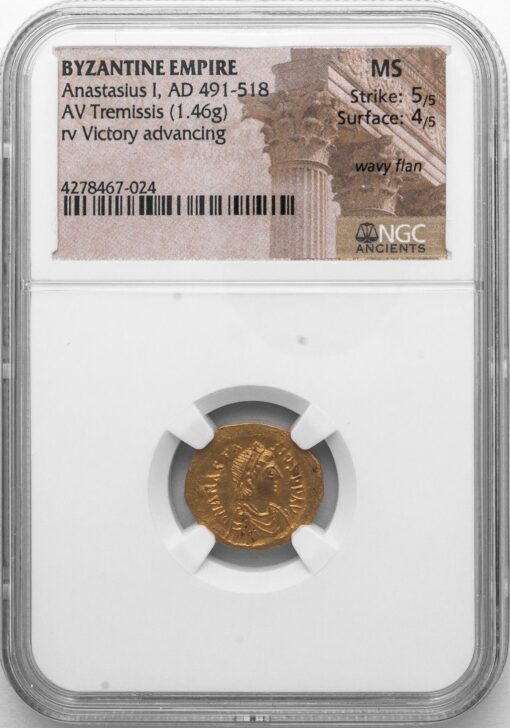 "ANASTASIUS I GOLD TREMISSIS - HIGH GRADE SMALL DENOMINATION WITH ""DANCING"" VICTORY - MINT STATE NGC GRADED BYZANTINE COIN (Inv. 11134)"