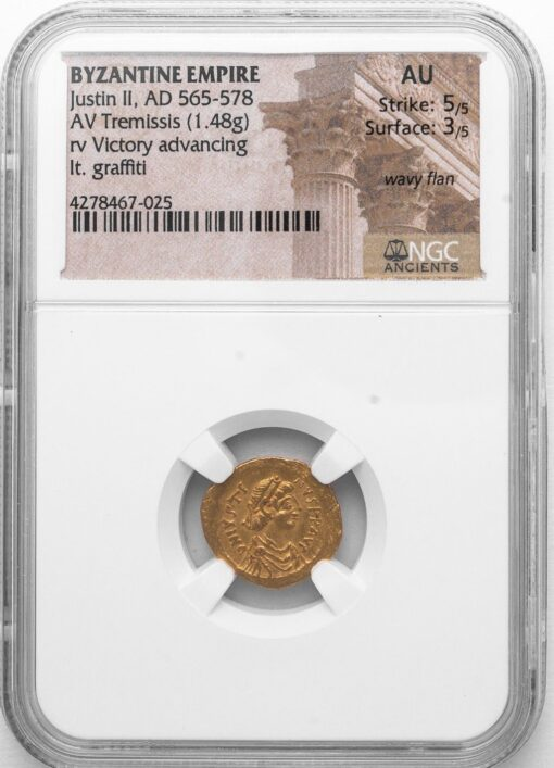 "JUSTIN II GOLD TREMISSIS - SMALL DENOMINATION WITH ""DANCING"" VICTORY - AU NGC GRADED BYZANTINE COIN (Inv. 11136)"