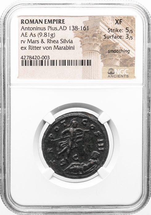 ANTONINUS PIUS BRONZE AS - MYTHOLOGICAL ROME FOUNDATION STORY OF MARS AND RHEA SILVIA - XF NGC GRADED ROMAN IMPERIAL COIN (Inv. 11170)