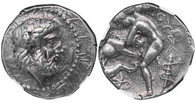 LYCCEIUS SILVER TETRADRACHM - EXCEPTIONAL RENDERING OF HERACLES KILLING THE NEMEAN LION - MINT STATE NGC GRADED GREEK PAEONIAN KINGDOM COIN (Inv. 11407)