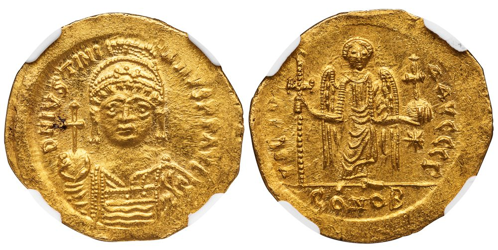 JUSTINIAN I GOLD SOLIDUS - CONSTANTINOPLE 3rd OFFICINA ISSUE WITH GREAT IMAGE OF AN ANGEL - CHOICE MINT STATE NGC GRADED BYZANTINE COIN (Inv. 11445)