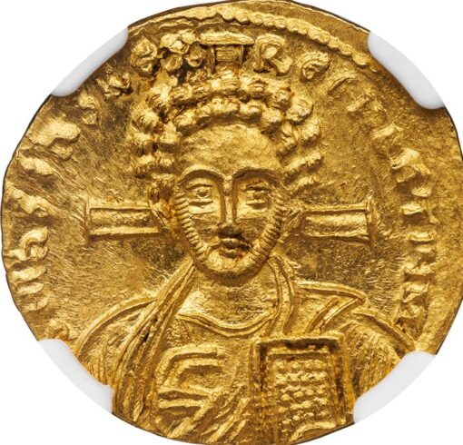 JUSTINIAN II SECOND REIGN GOLD SOLIDUS - SUPERB PORTRAIT OF THE YOUNG CHRIST - CHOICE MINT STATE NGC GRADED BYZANTINE COIN (Inv. 11510)