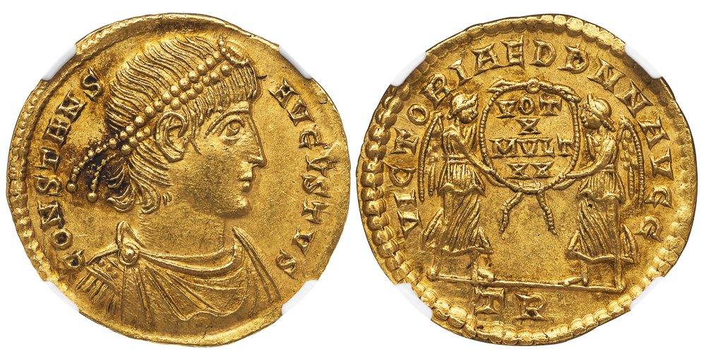 CONSTANS GOLD SOLIDUS - DECENNALIA ISSUE FROM TRIER WITH TWO VICTORIES HOLDING SHIELD - MINT STATE NGC GRADED ROMAN IMPERIAL COIN (Inv. 11586)