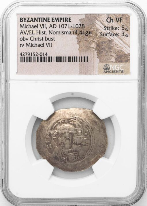 MICHAEL VII GOLD / ELECTRUM HISTAMENON - WITH PORTRAIT BUST OF CHRIST - CHOICE VF NGC GRADED BYZANTINE COIN (Inv. 11627)