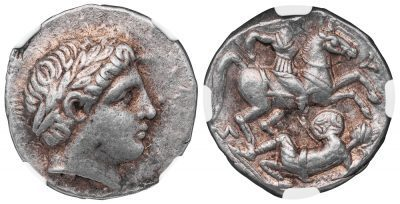 PATRAUS SILVER TETRADRACHM - BOLDLY STRUCK COIN WITH CAVALRY BATTLE - CHOICE AU NGC GRADED GREEK KINGDOM OF PAEONIA COIN (Inv. 11676)