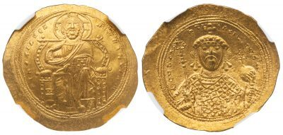 CONSTANTINE IX GOLD HISTAMENON - SUPERLATIVE ENTHRONED CHRIST PORTRAIT - CHOICE MINT STATE NGC GRADED BYZANTINE COIN (Inv. 11789)