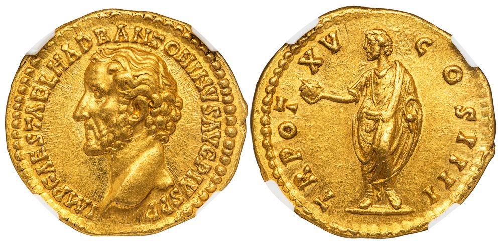 ANTONINUS PIUS GOLD AUREUS - EXCEPTIONAL ISSUE OF AD 151-152 - MINT STATE STAR NGC GRADED ROMAN IMPERIAL COIN OF THE GOOD EMPERORS (Inv. 11966)