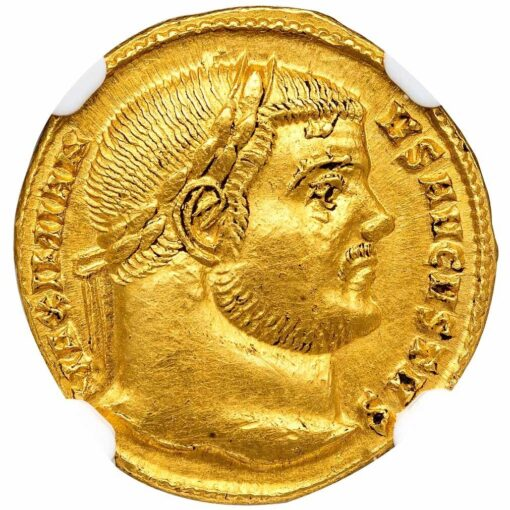 MAXIMIAN GOLD AUREUS - VERY RARE EMISSION CELEBRATING MAXIMIAN'S VINCENNALIA - MINT STATE NGC GRADED ROMAN IMPERIAL COIN (Inv. 11971)