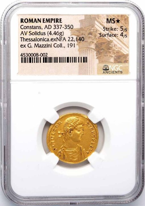 CONSTANS GOLD SOLIDUS - EXCEPTIONAL MILITARY TYPE EX GIUSEPPE MAZZINI COLLECTION - MINT STATE STAR NGC GRADED ROMAN IMPERIAL COIN (Inv. 11972)