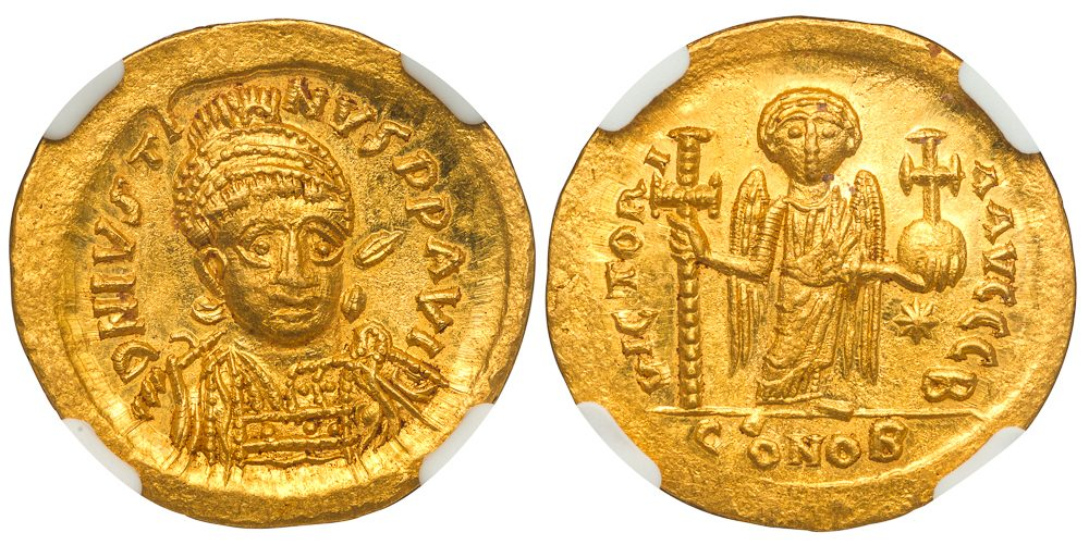 JUSTIN I GOLD SOLIDUS - OFFICINA B EMISSION SHOWING A VERY EARLY REPRESENTATION OF THE CHRISTIAN ANGEL - MINT STATE NGC GRADED BYZANTINE COIN (Inv. 11982)