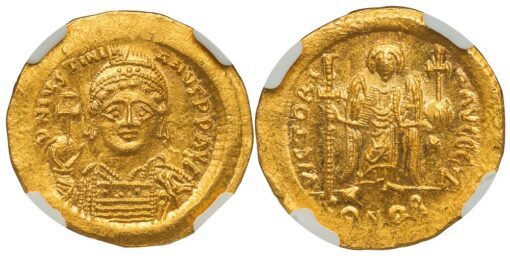 JUSTINIAN I GOLD SOLIDUS - ANGEL ISSUE FROM CONSTANTINOPLE OFFICINA Z - MINT STATE STAR NGC GRADED BYZANTINE COIN (Inv. 11986)