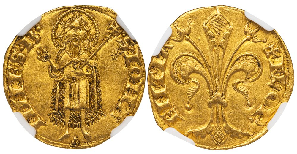 FLORENCE GOLD FLORIN ( FIORINO D'ORO ) - EXCEPTIONAL ISSUE OF 1252-1260 WITH PELLET PYRAMID MINTMASTER SYMBOL - MS 61 NGC GRADED ITALY ITALIAN COIN (Inv. 11992)
