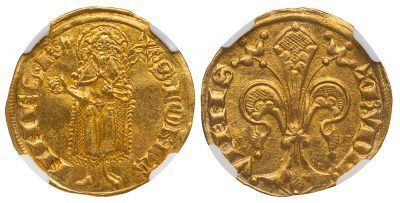 VIENNOIS FRANCE GOLD FLORIN ( FIORINO D'ORO ) - ISSUE OF 1333-1349 UNDER DAUPHIN HUMBERT II - MS 62 NGC GRADED FRANCE FRENCH COIN (Inv. 12009)