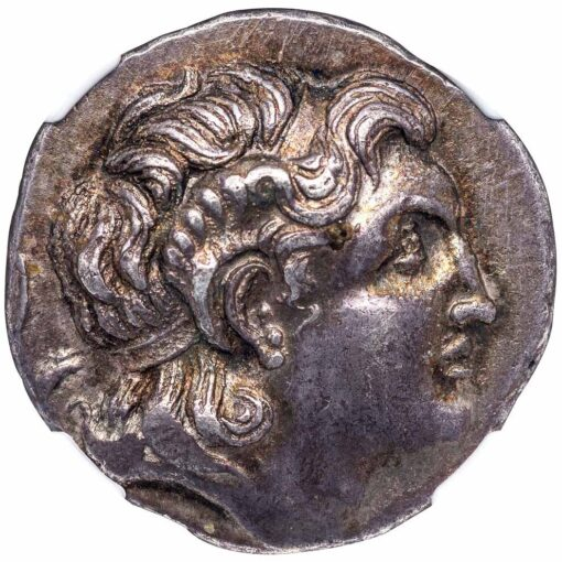 SCOSTOCUS SILVER TETRADRACHM OF LYSIMACHUS TYPE - CHOICE AU STAR NGC GRADED GREEK THRACE COIN (Inv. 12018)