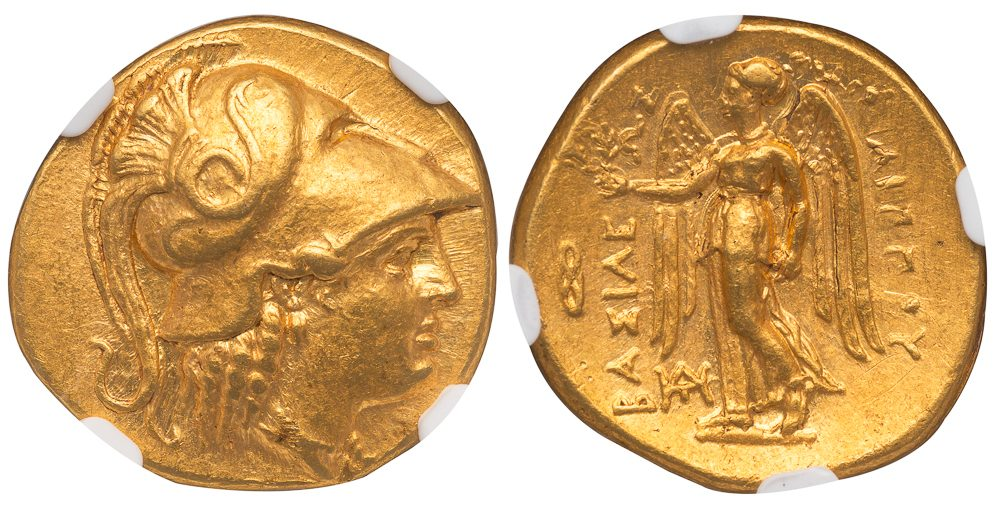 PHILIP III ALEXANDER TYPE GOLD STATER - BABYLON ISSUE WITH WHEEL CONTROL SYMBOL - MINT STATE FINE STYLE NGC GRADED GREEK MACEDONIAN COIN (Inv. 12029)