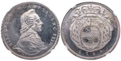 SALZBURG SILVER TALER - 1785 ISSUE OF COUNT HIERONYMUS, PATRON OF WOLFGANG AMADEUS MOZART - MS 64 PL NGC GRADED AUSTRIA COIN (Inv. 12049)
