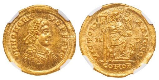 HONORIUS GOLD SOLIDUS - STUNNING SPECIMEN FROM THE MINT OF MEDIOLANUM - CHOICE MINT STATE NGC GRADED ROMAN IMPERIAL COIN (Inv. 12073)