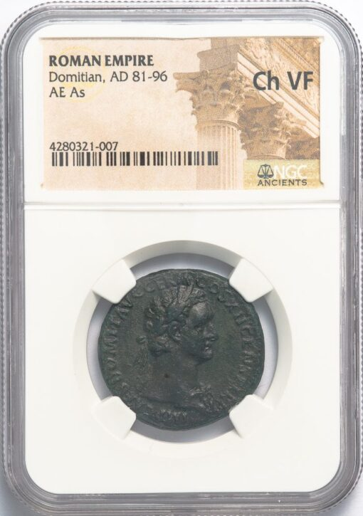 DOMITIAN BRONZE AS - VIRTUS AUGUSTI TYPE EX SPINK 1935 - CHOICE VF ROMAN IMPERIAL COIN OF THE TWELVE CAESARS (Inv. 12086)