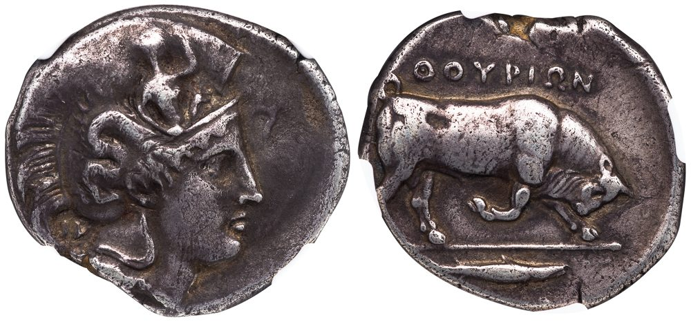 THURIUM ( THURIOI ) SILVER DISTATER - 1926 PROVENANCED SPECIMEN PUBLISHED IN NOE'S MONOGRAPH - CHOICE VF NGC GRADED GREEK LUCANIA COIN (Inv. 12092)