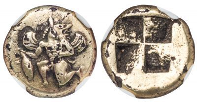 CYZICUS KYZIKOS ELECTRUM HECTE - SCARCE TYPE WITH FANTASTIC DEMONIC FINGURE HOLDING TUNNY - CHOICE XF NGC GRADED GREEK MYSIA COIN (Inv. 11275)