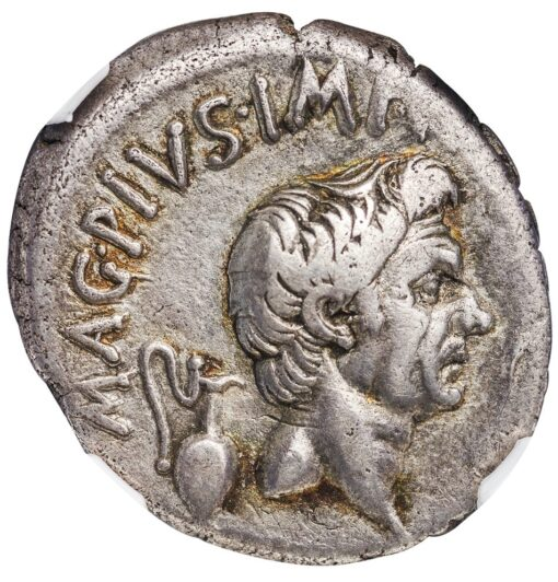 POMPEY MAGNUS SILVER DENARIUS - POSTHUMOUS ISSUE WITH THE CATANAEAN BROTHERS - CHOICE VF NGC GRADED ROMAN IMPERIAL COIN (Inv. 12470)