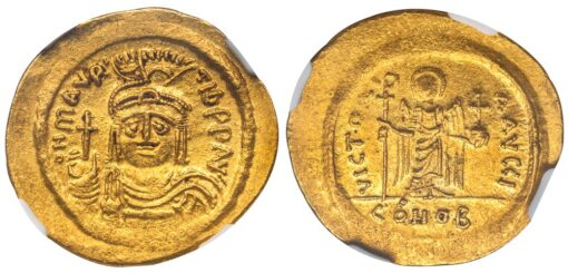 MAURICE TIBERIUS GOLD SOLIDUS - CONSTANTINOPLE ISSUE WITH ANGEL FROM OFFICINA I - CHOICE AU NGC GRADED BYZANTINE COIN (Inv. 12476)
