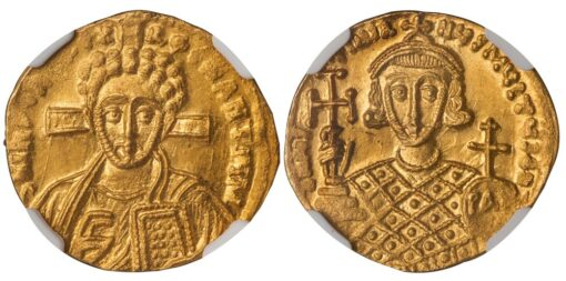 JUSTINIAN II SECOND REIGN GOLD SOLIDUS - WITH PORTRAIT OF THE YOUNG CHRIST - MINT STATE NGC GRADED BYZANTINE COIN (Inv. 12494)
