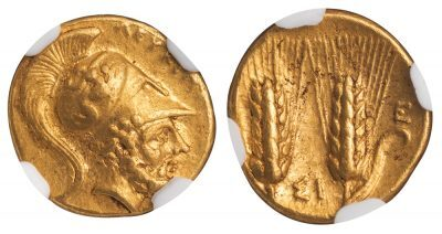 METAPONTUM ( METAPONTION ) GOLD TETROBOL - LEUKIPPOS AND BARLEY TYPE STRUCK FOR PYRRHOS OF EPEIROS - AU NGC GRADED GREEK LUCANIA COIN (Inv. 12498)