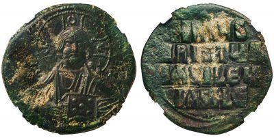 BYZANTINE ANONYMOUS BRONZE FOLLIS - CLASS A3 WITH CHRIST PORTRAIT - AU NGC GRADED BYZANTINE COIN (Inv. 12514)