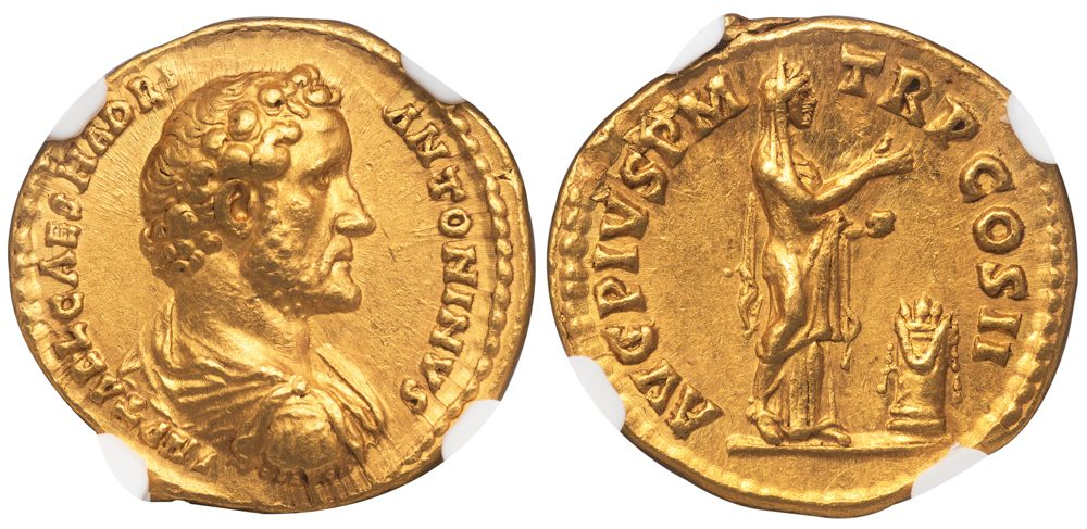 ANTONINUS PIUS GOLD AUREUS - EARLY ISSUE WITH UNRECORDED BUST TYPE - CHOICE AU FINE STYLE NGC GRADED ROMAN IMPERIAL COIN (Inv. 12534)