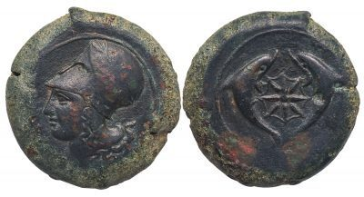 SYRACUSE BRONZE LITRA - EXCEPTIONAL STYLE PIECE FROM PERIOD OF TIMOLEON - EF GREEK SICILY COIN (Inv. 4930)