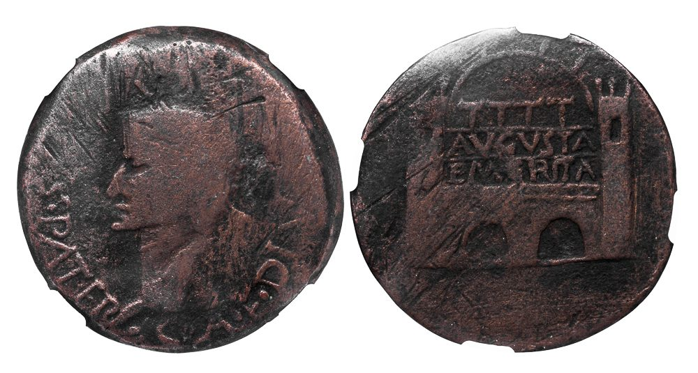 MERIDA (AUGUSTA EMERITA) SPAIN BRONZE DUPONDIUS OF TIBERIUS - EX ARCHER M. HUNTINGTON and CERVERA COLLECTIONS - FINE NGC CERTIFIED GREEK SPANISH COIN (Inv. 6067)