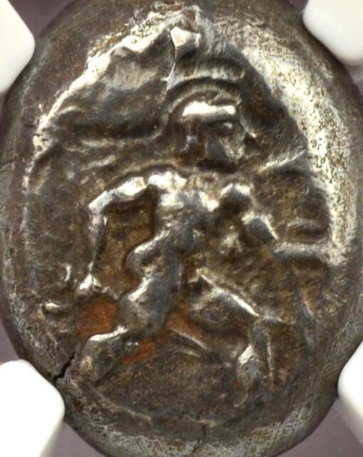 ASPENDUS ( ASPENDOS ) SILVER STATER WITH HOPLITE WARRIOR - PROVENANCED DR. MIRSKY ROCKEFELLER UNIV. - CHOICE VF NGC GRADED GREEK PAMPHYLIA COIN (Inv. 6781)