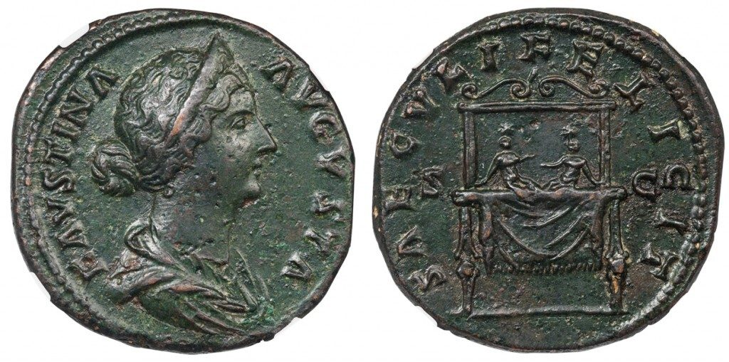 FAUSTINA THE YOUNGER BRONZE SESTERTIUS - DYNASTIC ISSUE SHOWING THE IMPERIAL OFFSPRING, COMMODUS AND ANTONINUS - CHOICE XF NGC GRADED ROMAN IMPERIAL COIN (Inv. 7154)