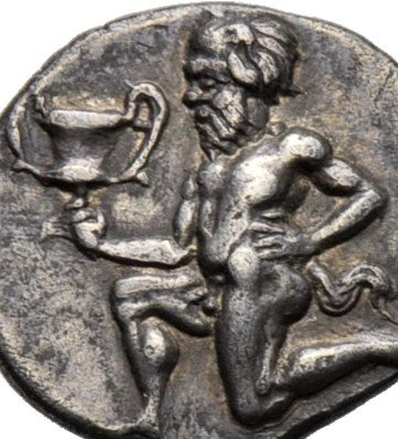 THASOS SILVER AR TRIHEMIOBOL WITH SATYR HOLDING WINE CUP - SUPERB AND ARTISTIC EF GREEK THRACE COIN (Inv. 8055)