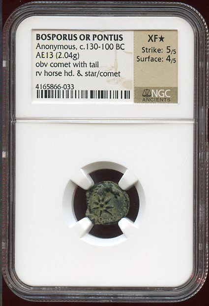BOSPORUS OR PONTUS BRONZE AE13 WITH A COMET - PERHAPS STRUCK BY MITHRIDATES VI - CHOICE XF STAR NGC GRADED GREEK COIN (Inv. 8151)