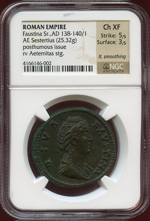 FAUSTINA THE ELDER BRONZE AE SESTERTIUS - POSTHUMOUS DIVA FAUSTINA ISSUE WITH AETERNITAS HOLDING PHOENIX - CHOICE XF NGC GRADED ROMAN IMPERIAL COIN (Inv. 8239)