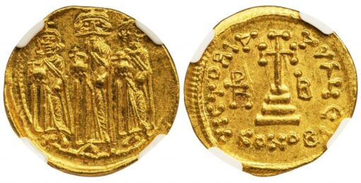 "HERACLIUS GOLD SOLIDUS - ""THREE KINGS"" TYPE UNUSUAL VARIETY WITH CONOB Λ - MINT STATE NGC GRADE BYZANTINE COIN (Inv. 8261)"