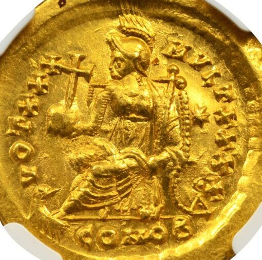 THEODOSIUS II GOLD SOLIDUS - CONSTANTINOPOLIS ENTHRONED REVERSE - MINT STATE NGC GRADED EASTERN ROMAN IMPERIAL COIN (Inv. 8384)