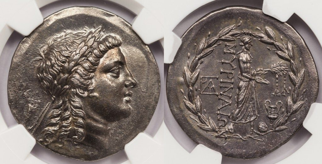 MYRINA SILVER TETRADRACHM - NICELY TONED SPECIMEN - CHOICE AU FINE STYLE NGC GRADED GREEK AEOLIS COIN (Inv. 8449)
