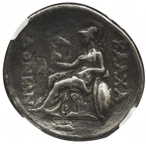 LYSIMACHUS SILVER TETRADRACHM - RARE ISSUE WITH CIVIC INSCRIPTION IN THE NAME OF THE CHALCEDONIANS - VF NGC GRADED GREEK BITHYNIA COIN (Inv. 8582)