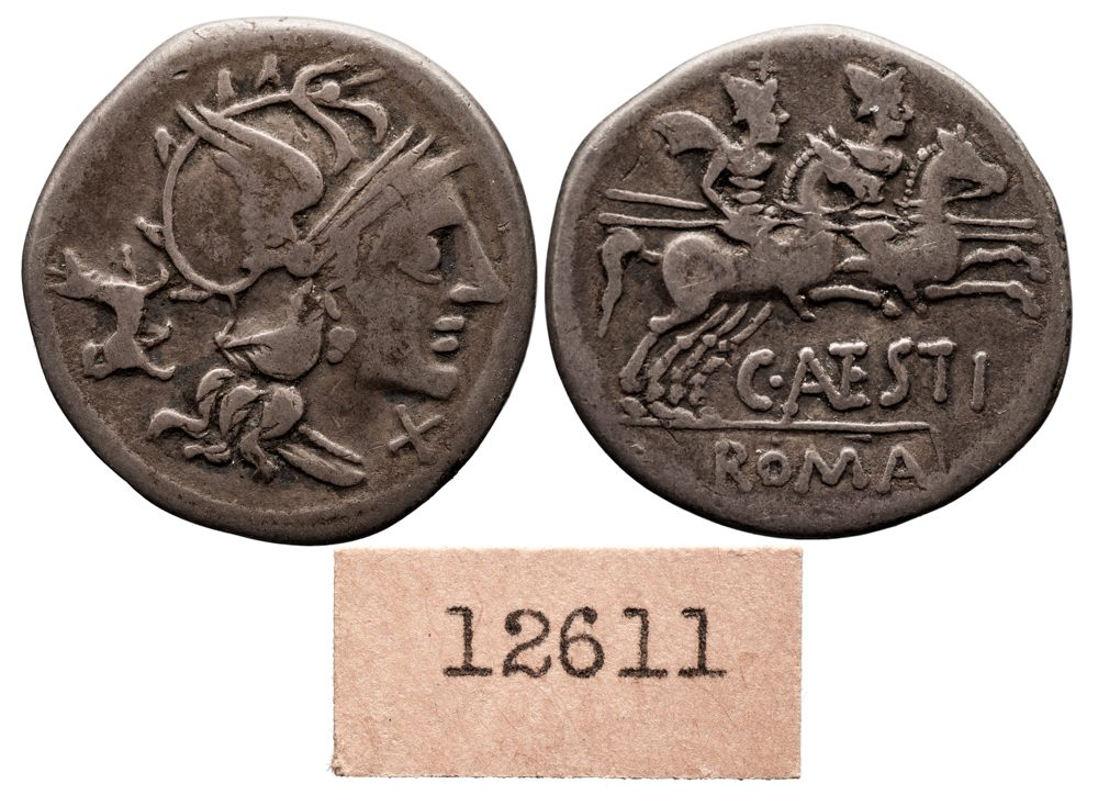 C ANTESTIUS SILVER DENARIUS - NEAT DOG SYMBOL ON OBVERSE - EX HUNTINGTON COLLECTION AND EX HSA / ANS - VF ROMAN REPUBLICAN COIN (Inv. 8592)